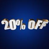 20 por cento fora das letras 3d no fundo azul ilustração do vetor