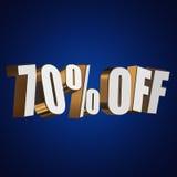 70 por cento fora das letras 3d no fundo azul Imagem de Stock