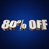 80 por cento fora das letras 3d no fundo azul Fotos de Stock Royalty Free