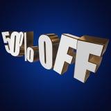 50 por cento fora das letras 3d no fundo azul Imagem de Stock Royalty Free