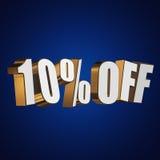 10 por cento fora das letras 3d no fundo azul Fotografia de Stock Royalty Free