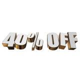 40 por cento fora das letras 3d no fundo branco ilustração stock