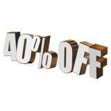 40 por cento fora das letras 3d no fundo branco ilustração do vetor
