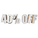 40 por cento fora das letras 3d no fundo branco ilustração royalty free