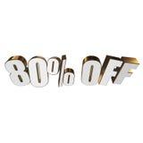 80 por cento fora das letras 3d no fundo branco Imagem de Stock