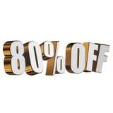 80 por cento fora das letras 3d no fundo branco Fotos de Stock
