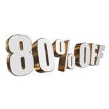 80 por cento fora das letras 3d no fundo branco Imagens de Stock