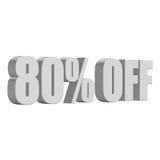 80 por cento fora das letras 3d no fundo branco Imagens de Stock Royalty Free