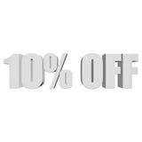 10 por cento fora das letras 3d no fundo branco Imagem de Stock