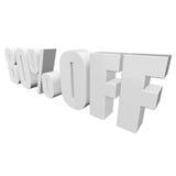 80 por cento fora das letras 3d no fundo branco Foto de Stock