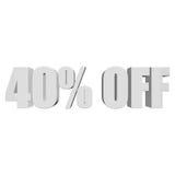 40 por cento fora das letras 3d no fundo branco Fotos de Stock