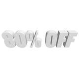 80 por cento fora das letras 3d no fundo branco Fotografia de Stock