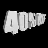 40 por cento fora das letras 3d no fundo preto Fotos de Stock