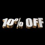 10 por cento fora das letras 3d no fundo preto Imagens de Stock Royalty Free
