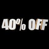 40 por cento fora das letras 3d no fundo preto Imagens de Stock