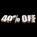 40 por cento fora das letras 3d no fundo preto ilustração do vetor