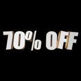 70 por cento fora das letras 3d no fundo preto Imagens de Stock