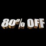 80 por cento fora das letras 3d no fundo preto Imagens de Stock