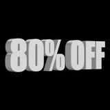 80 por cento fora das letras 3d no fundo preto Fotografia de Stock
