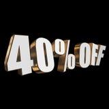 40 por cento fora das letras 3d no fundo preto Imagens de Stock Royalty Free