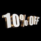10 por cento fora das letras 3d no fundo preto Fotografia de Stock