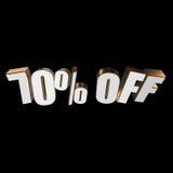 70 por cento fora das letras 3d no fundo preto Foto de Stock Royalty Free