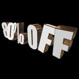 80 por cento fora das letras 3d no fundo preto Imagem de Stock