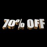 70 por cento fora das letras 3d no fundo preto Fotos de Stock