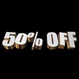 50 por cento fora das letras 3d no fundo preto Foto de Stock