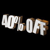40 por cento fora das letras 3d no fundo preto Foto de Stock Royalty Free