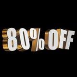 80 por cento fora das letras 3d no fundo preto Imagem de Stock Royalty Free