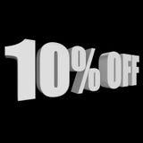 10 por cento fora das letras 3d no fundo preto Foto de Stock