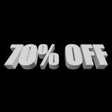 70 por cento fora das letras 3d no fundo preto Imagem de Stock