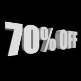 70 por cento fora das letras 3d no fundo preto Imagem de Stock Royalty Free