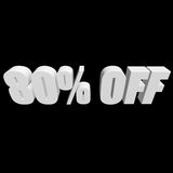 80 por cento fora das letras 3d no fundo preto Fotos de Stock Royalty Free