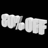 80 por cento fora das letras 3d no fundo preto Imagens de Stock Royalty Free