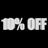 10 por cento fora das letras 3d no fundo preto Imagens de Stock