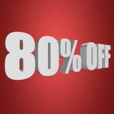 80 por cento fora das letras 3d no fundo vermelho Foto de Stock Royalty Free