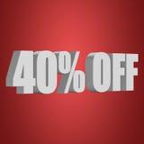 40 por cento fora das letras 3d no fundo vermelho Imagem de Stock Royalty Free