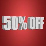 50 por cento fora das letras 3d no fundo vermelho Imagem de Stock