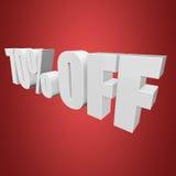 70 por cento fora das letras 3d no fundo vermelho Fotografia de Stock