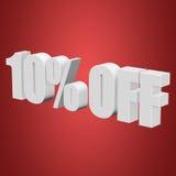 10 por cento fora das letras 3d no fundo vermelho Fotos de Stock Royalty Free