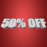 50 por cento fora das letras 3d no fundo vermelho Fotos de Stock