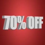 70 por cento fora das letras 3d no fundo vermelho Imagem de Stock