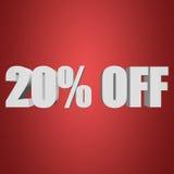 20 por cento fora das letras 3d no fundo vermelho ilustração do vetor
