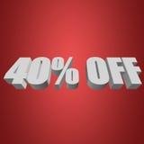 40 por cento fora das letras 3d no fundo vermelho Fotografia de Stock