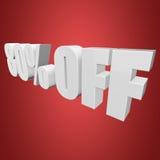 80 por cento fora das letras 3d no fundo vermelho Imagens de Stock Royalty Free