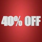 40 por cento fora das letras 3d no fundo vermelho Imagem de Stock