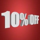 10 por cento fora das letras 3d no fundo vermelho Imagens de Stock
