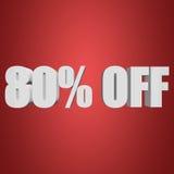 80 por cento fora das letras 3d no fundo vermelho Imagens de Stock
